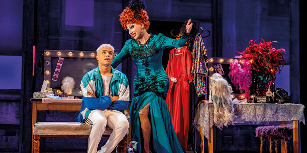 Noah Thomas (Jamie) and Bianca Del Rio Loco (Channelle) in Everybody's Talking About Jamie. Photo by Matt Crockett.