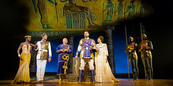 Tanisha Spring, Liam Tamne, Adam Pearce, Joe Dixon and Debbie Kurupin in The Prince Of Egypt. Photo by Matt Crockett.