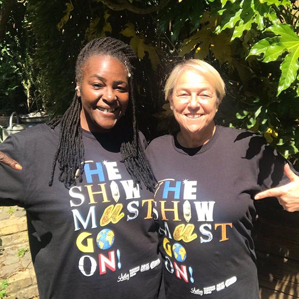 Sharon D Clarke & Susie McKenna wearing The Show Must Go Online! exclusive charity t-shirts