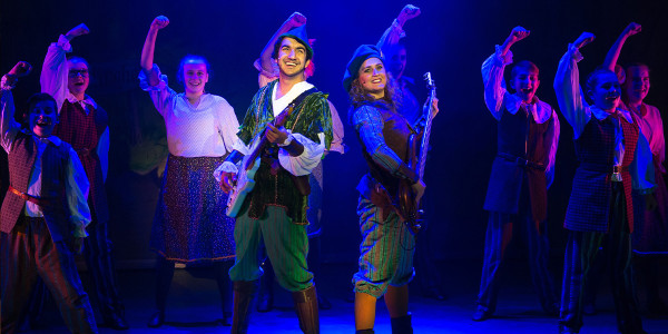 Phil Adele, Barabara Hockaday and the junior chorus in Robin Hood at the Queens Theatre Hornchurch, 2019, Photo by Mark Sepple