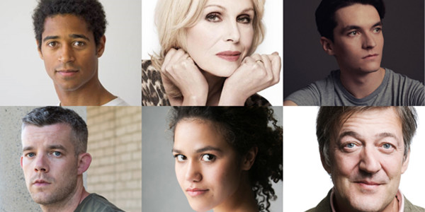 Clockwise from top left: Alfred Enoch, Joanna Lumley, Fionn Whitehead, Russell Tovey, Emma McDonald & Stephen Fry