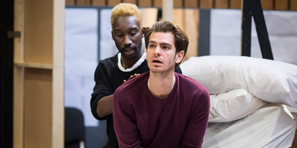 Nathan Stewart-Jarrett and Andrew Garfield in rehearsals for Angels In America at the National Theatre (Photo: Helen Maybanks)