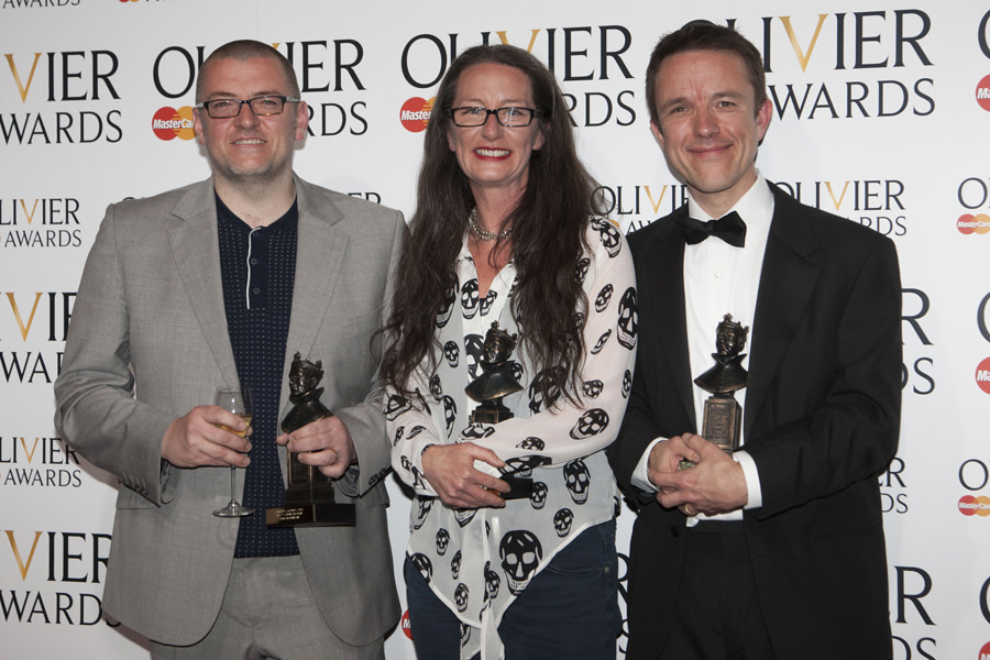 Ian Dickinson (Best Sound Design), Paule Constable (White Light Award for Lighting Design) and Adrian Sutton (Best Sound Design) (Photo: Dan Wooller)