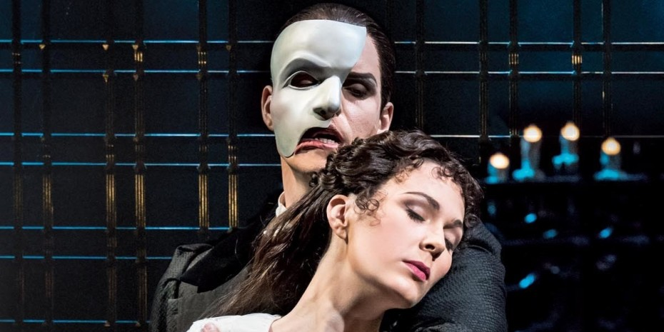 Ben Lewis (The Phantom) and Kelly Mathieson (Christine Daae) in The Phantom Of The Opera London (Photo: Johan Persson)