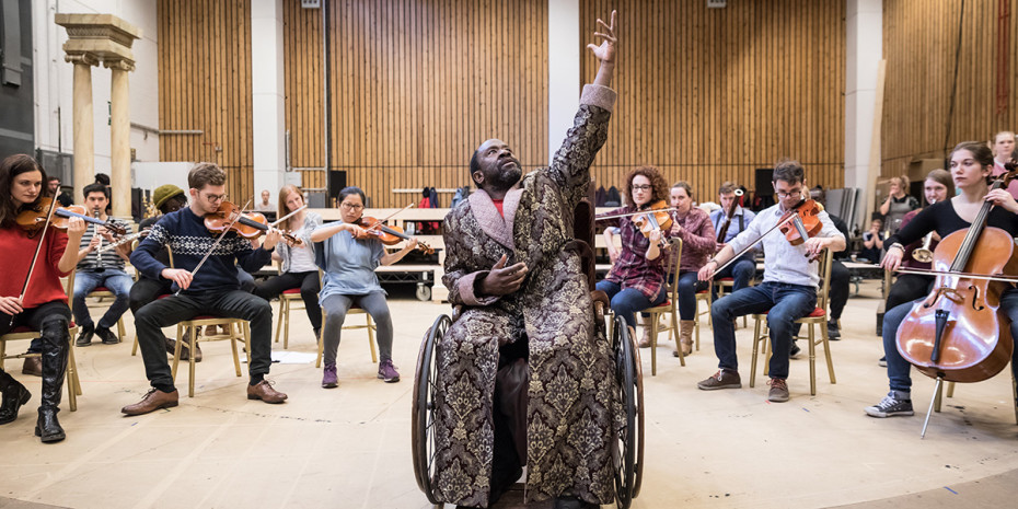 Lucian Msamati (Antonio Salieri) in rehearsal for Amadeus at the National Theatre (Photo: Marc Brenner)