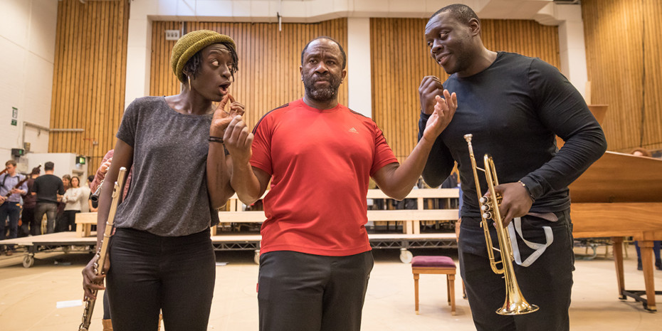 Sarah Amankwah, Lucian Msamati and Ekow Quartey in rehearsal for Amadeus at the National Theatre (Photo: Marc Brenner)