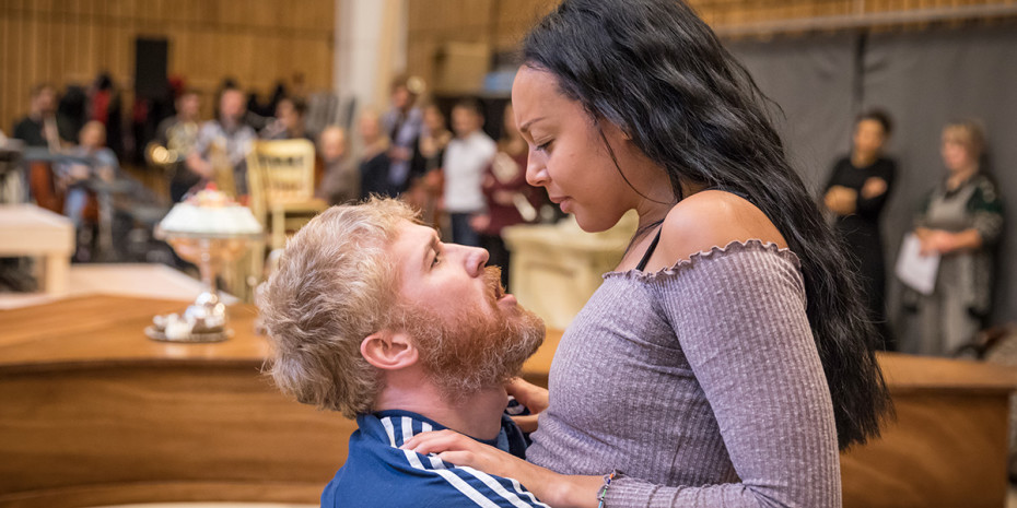 Adam Gillen (Wolfgang Mozart) and Adele Leonce (Constanze Weber) in rehearsal for Amadeus at the National Theatre (Photo: Marc Brenner)