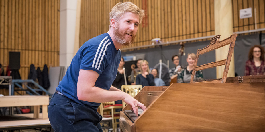 Adem Gillen (Wolfgang Mozart) in rehearsal for Amadeus at the National Theatre (Photo: Marc Brenner)