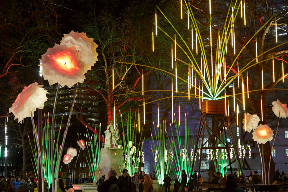 Garden Of Light at Leicester Square Gardens in London Lumiere 2016 (Photo: Matthew Andrews/VisitLondon.com)