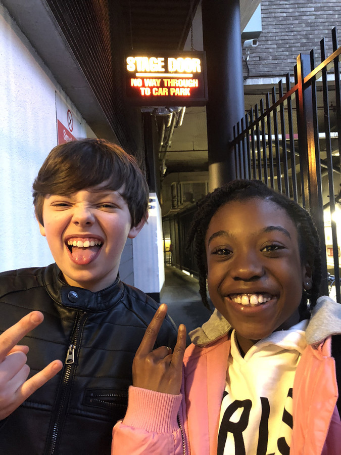 Jack Goodacre and Nerys Obeng arriving at stage door