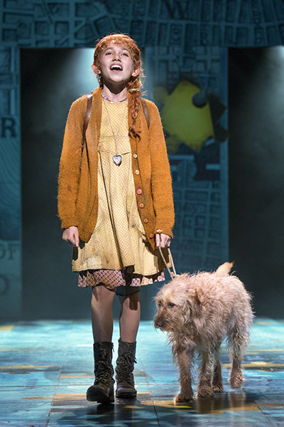 Ruby Stokes (Annie) and Amber (Sandy) in Annie at Piccadilly Theatre (Photo: Paul Coltas)