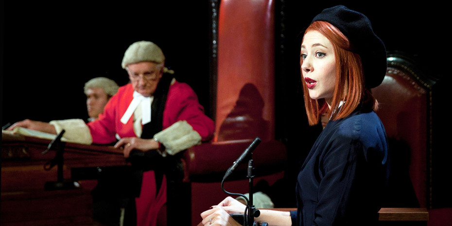 Patrick Godfrey and Catherine Steadman in Witness For The Prosecution at London County Hall (Photo: Sheila Burnett)