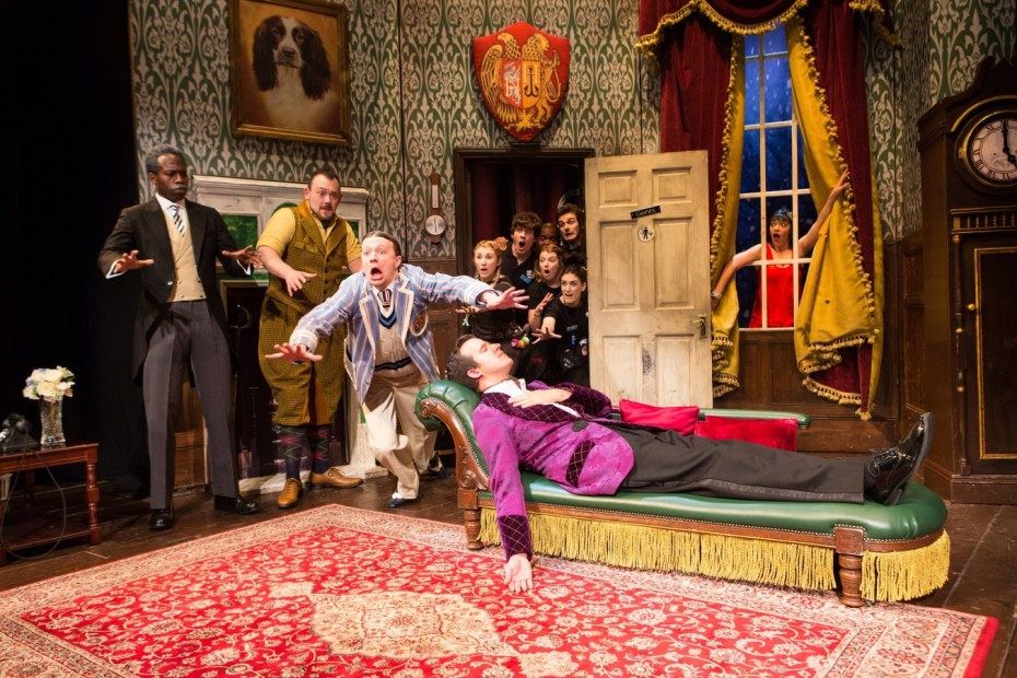 Katie Bernstein, Jason Callender, Edward Judge, Alastair Kirton, Edward Howells, Meg Mortell, Graeme Rooney, and Patrick Warner in The Play That Goes Wrong