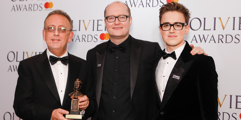 Nick Thomas, Michael Harrison and Tom Fletcher backstage at the 2018 Olivier Awards