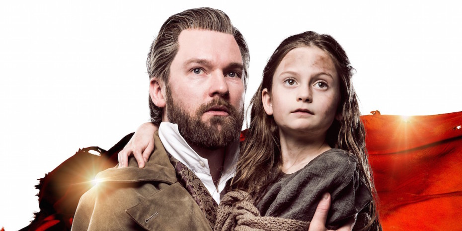 Les Miserables tour - Killian Donnelly as Jean Valjean, with Cosette. Photo (c) Matt Crockett
