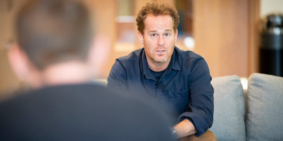 Adam James in Consent rehearsals (Photo: Johan Persson)