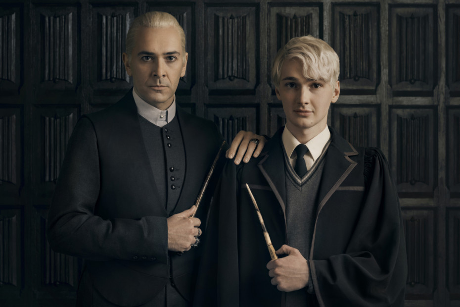 Harry Potter And The Cursed Child. The Malfoys: James Howard as Draco Malfoy and Jonathan Case as Scorpius Malfoy. Photo by Charlie Gray