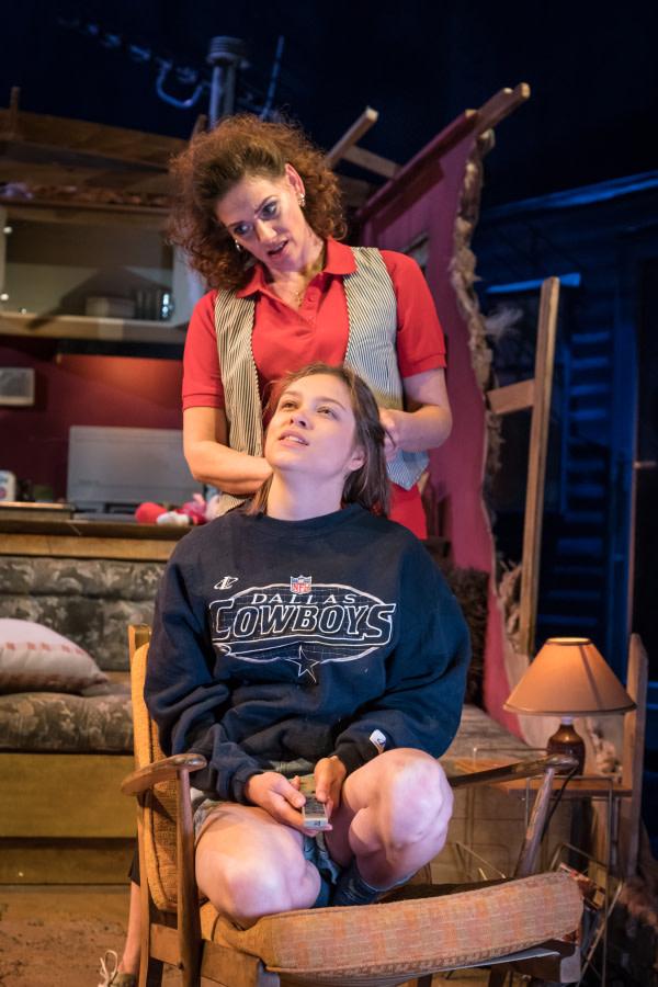 Neve McIntosh as Sharlan Smith and Sophie Cookson as Dottie Smith - Killer Joe at Trafalgar Studios - Photographer Marc Brenner