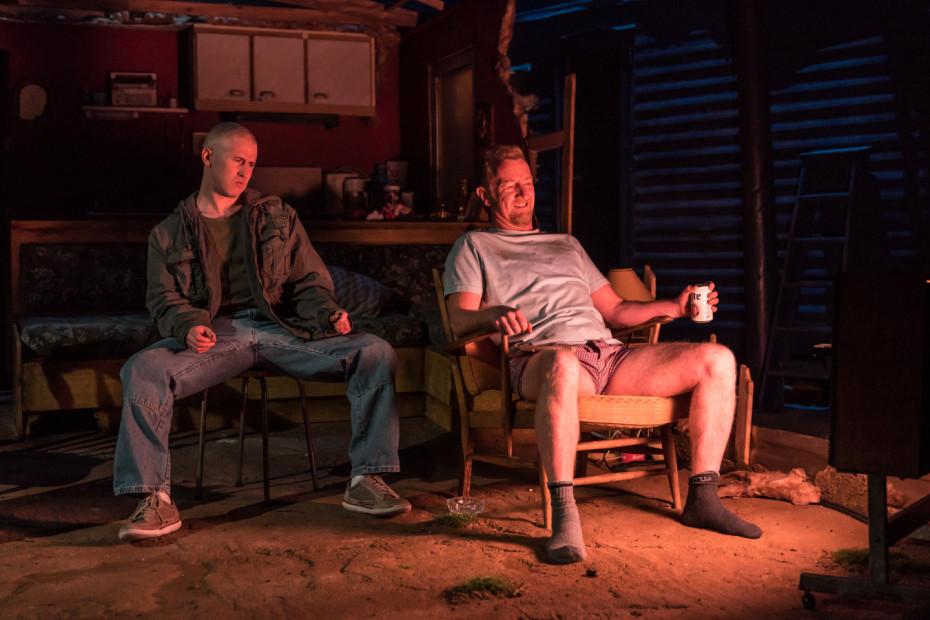 Adam_Gillen as Chris Smith, Steffan Rhodri as Ansel Smith - Killer Joe at Trafalgar Studios - Photographer Marc Brenner