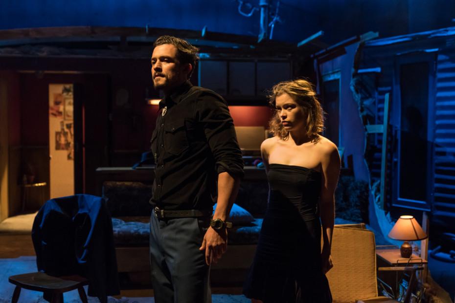 Orlando Bloom and Sophie Cookson as Dottie Smith - Killer Joe at Trafalgar Studios - Photographer Marc Brenner