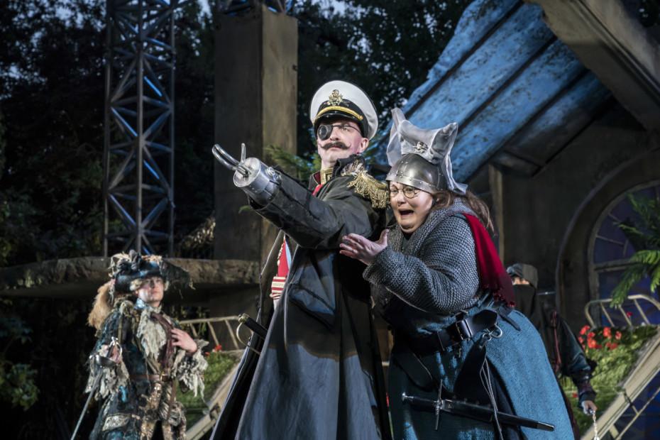 Dennis Herdman and Caroline Deyga as Hook and Smee - Photo Johan Persson