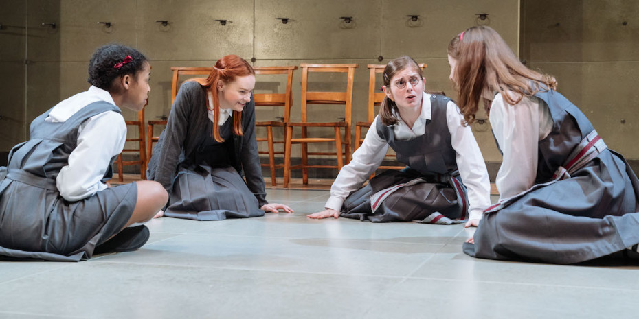 L-R Grace Saif (Monica), Rona Morison, Emma Hindle and Helena Wilson in The Prime of Miss Jean Brodie at the Donmar Warehouse. Photo Manuel Harlan