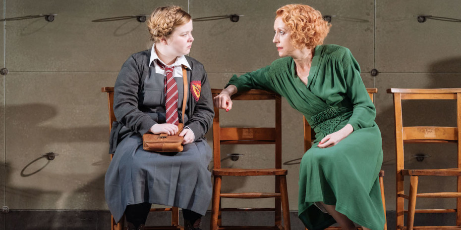 Nicola Coughlan and Lia Williams in The Prime of Miss Jean Brodie, Donmar Warehouse, directer Polly Findlay, designer Lizzie Clachan. Photo Manuel Harlan