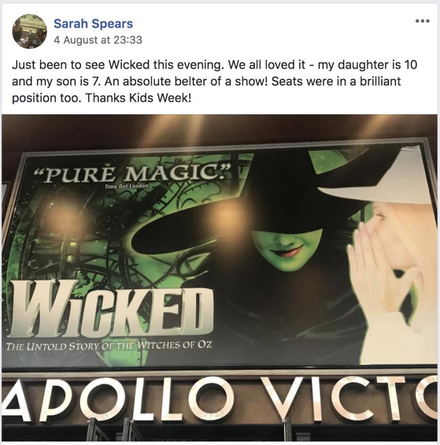 Sara Spears' Kids Week's visit to Wicked