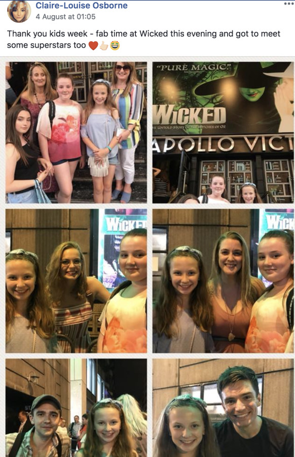 Claire-Louise Osbourne's Kids Week visit to Wicked