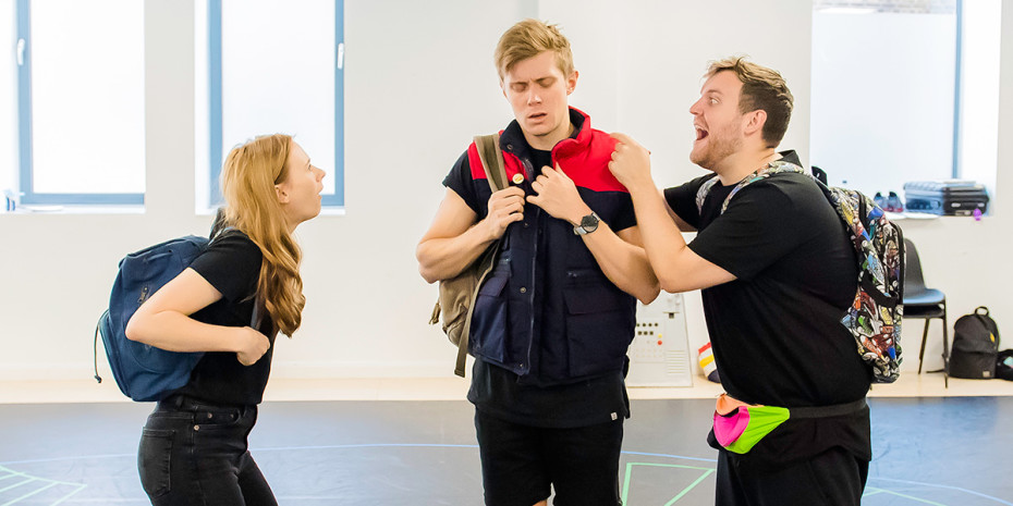 Laura Baldwin, Rob Houchen and Nik Dudley in Eugenius! rehearsals (Photo: Nik Dudley)