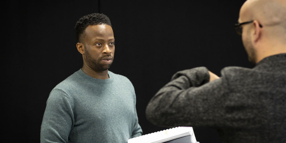 Clifford Samuel as Teddy in rehearsals for A Guide For The Homesick. Photo by Helen Maybanks