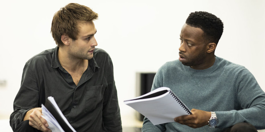 Clifford Samuel and Douglas Booth in rehearsals for A Guide For The Homesick. Photo by Helen Maybanks