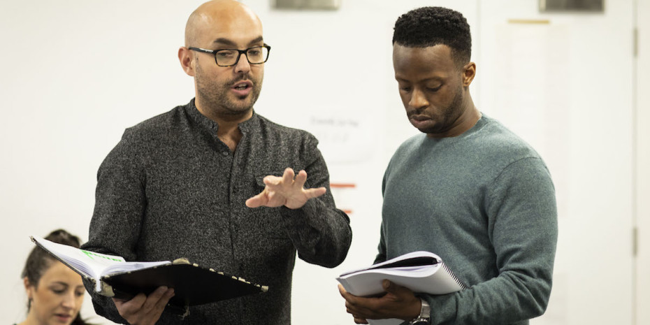 Jonathan O'Boyle and Clifford in rehearsals for A Guide For The Homesick. Photo by Helen Maybanks