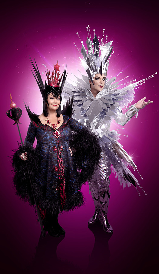 Dawn French (Wicked Queen) and Julian Clary (Man in the Mirror) in Snow White (Photo: Paul Coltas)