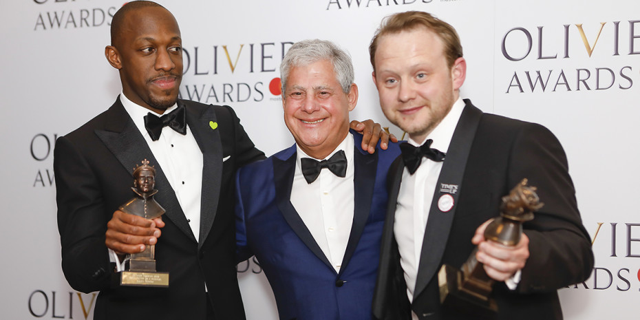 Giles Terera, Sir Cameron Mackintosh and Michael Jibson at the Olivier Awards 2018 with Mastercard (Photo: Pamela Raith)
