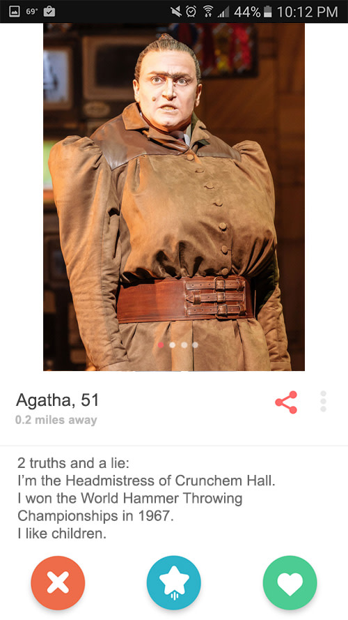 Miss Trunchbull's Tinder profile