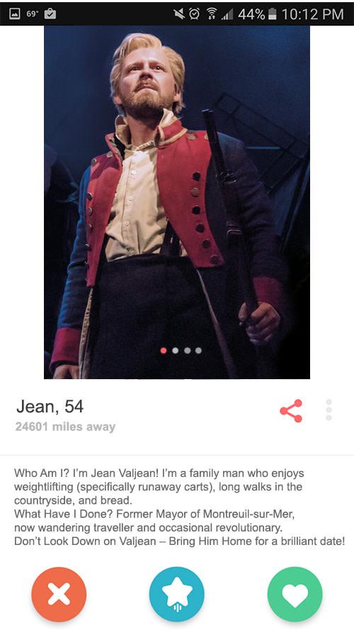 Jean Valjean's Tinder profile