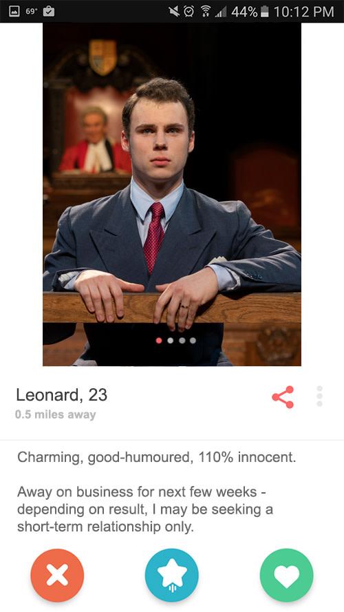 Leonard Vole's Tinder Profile
