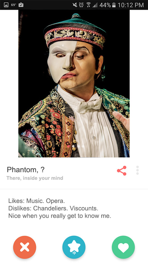 The Phantom's Tinder profile