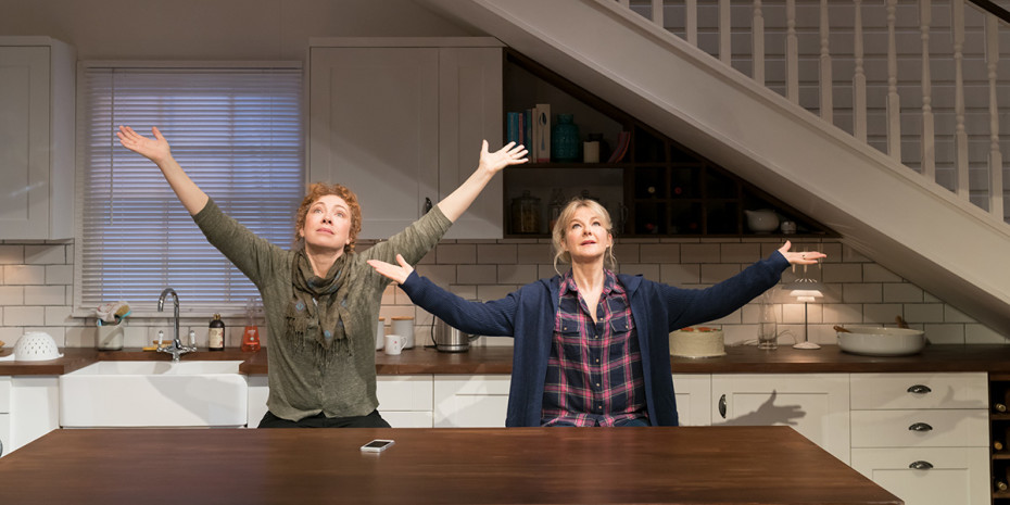 Alex Kingston and Sarah Hadland in Admissions at Trafalgar Studios