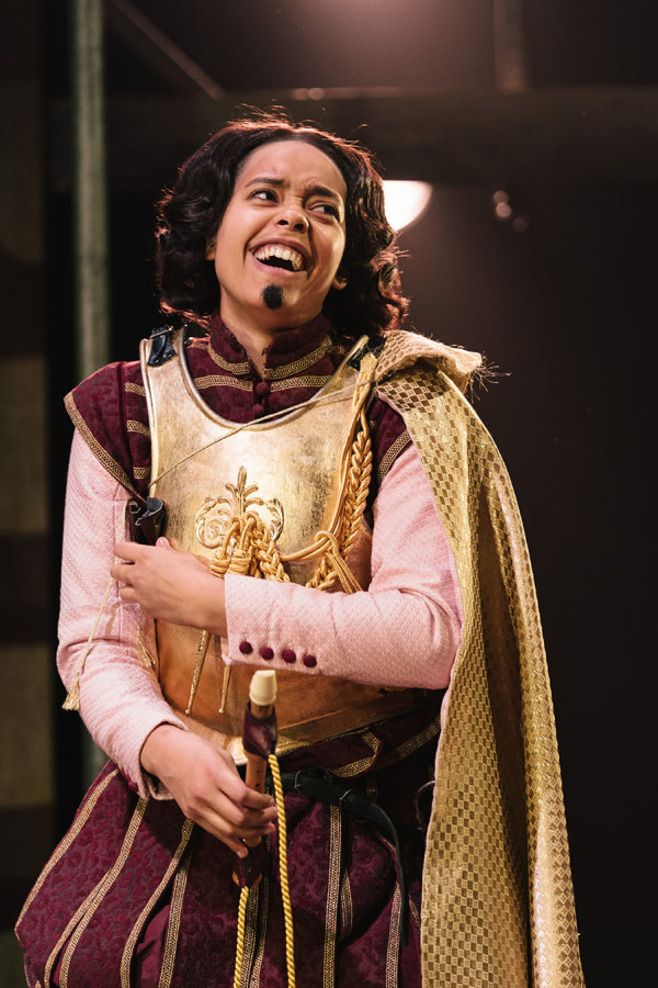 Amanda Wilkin (Alphonso Lainer) in Emilia at the Vaudeville Theatre. Photo credit Helen Murray.