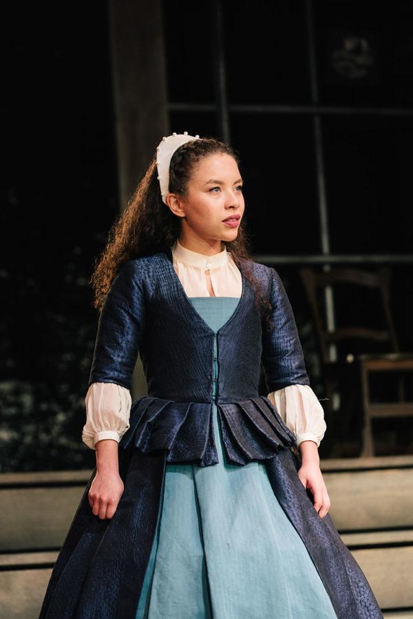 Saffron Coomber (Emilia 1) in Emilia at the Vaudeville Theatre. Photo credit Helen Murray.