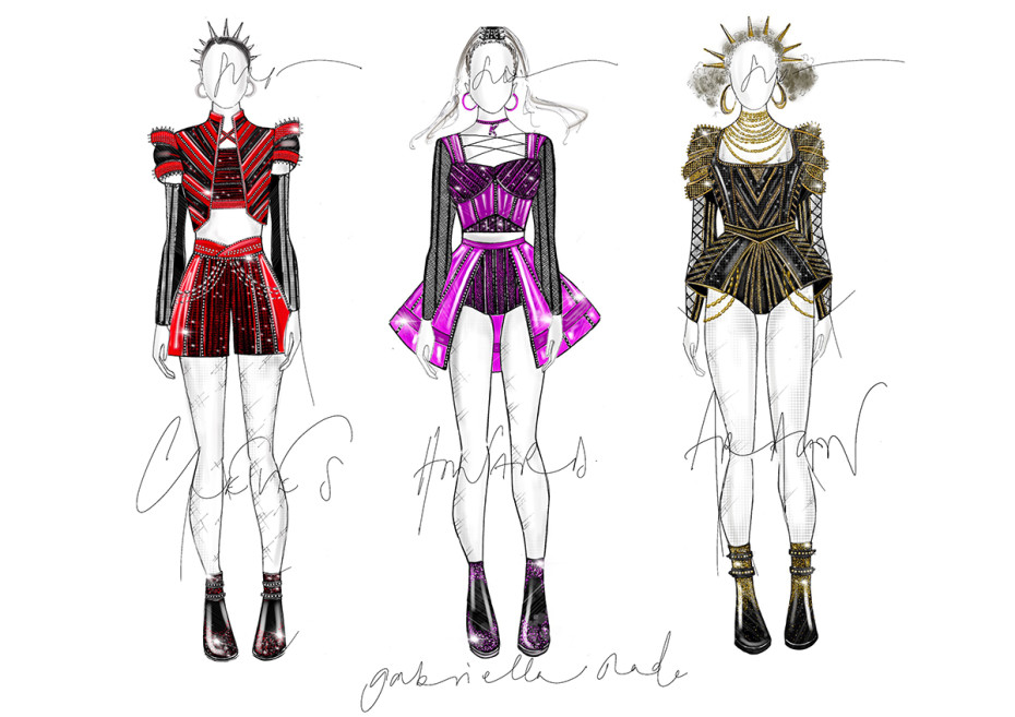 Six costume designs (Credit: Gabriella Slade)