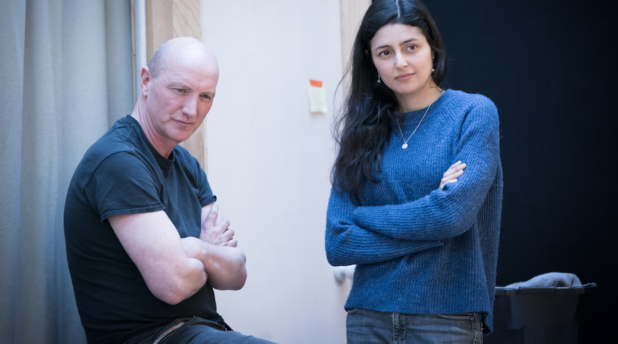 Paul Brennen Roger and Shanaya Rafaat Pat in rehearsals for Jude at Hampstead Theatre. Photo credit Marc Brenner.