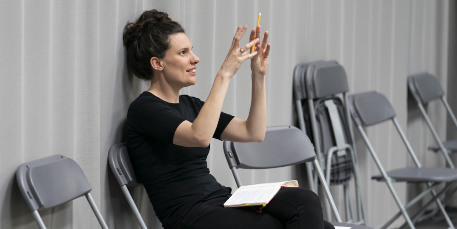 Ellen McDougall (Director) in rehearsals for Our Town at RPOAT. Photo Johan Persson.