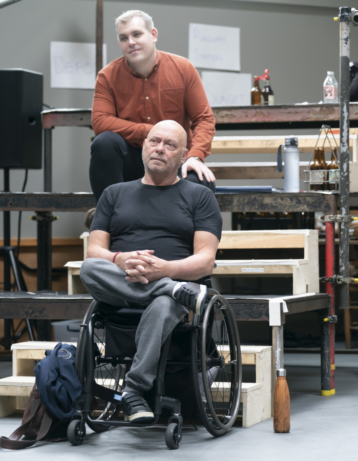 Louis Martin (Howie Newsome) and Garry Robson (Constable Warren) in rehearsals for Our Town at RPOAT. Photo Johan Persson.