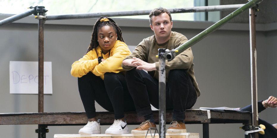 Miriam Nyarko (Rebecca Gibbs) and Arthur Hughes (George Gibbs) in rehearsals for Our Town at RPOAT. Photo Johan Persson.