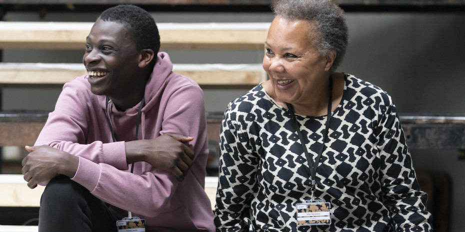 Terique Jarrett (Joe, Si Crowell) and Cleo Sylvestre (Professor Willard) in rehearsals for Our Town at RPOAT. Photo Johan Persson.
