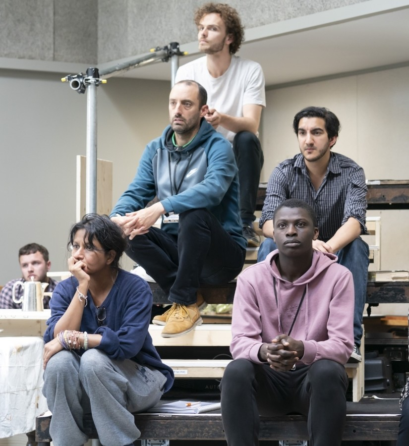Thusitha Jayasundersa, Tom Edden, David Ridley, Phil Adèle and Terique Jarrett in rehearsals for Our Town at RPOAT. Photo credit Johan Persson