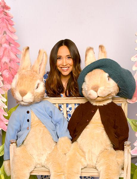 Peter Rabbit, Myleene Klass and Benjamin Bunny in Where Is Peter Rabbit? (Photo: Dave Hogan)